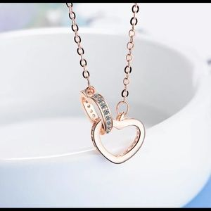 925 Sterling Rose Gold Double Love Heart Necklace